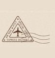 air mail triangle postmark express delivery brown vector image