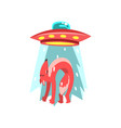 alien ufo spaceship taking away red fox flying vector image