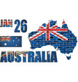 australia map on a brick wall vector image vector image