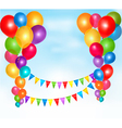 background with colorful balloons and bunting vector image