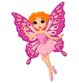 Beautiful pink fairy cartoon vector image