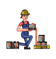 builder pours paint in the tray vector image vector image