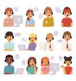 call center agents cartoon business people with vector image vector image