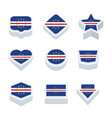 cape verde flags icons and button set nine styles vector image