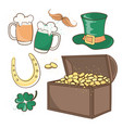 chest of gold saint patrick day cartoon vector image