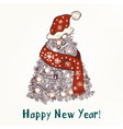 christmas new year greeting card hand drawn tree vector image
