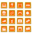 cinema icons set orange vector image