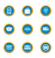 city taxi icons set flat style vector image vector image
