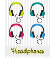 color set of headphones on gray background lines vector image vector image