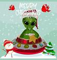 cute alien christmas vector image vector image