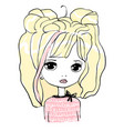cute baby girl doll princess hand drawn vector image vector image