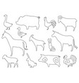 farm animals silhouettes for coloring book vector image vector image