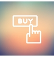 Finger pointing to buy sign thin line icon vector image