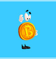 funny thoughtful bitcoin character crypto vector image vector image