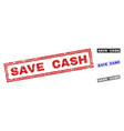 grunge save cash textured rectangle stamps vector image vector image