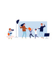 happy family time parents with kids in photo vector image