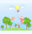 happy family walking in a park with kid vector image vector image