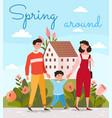 happy family walking together at spring season vector image vector image