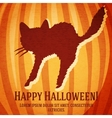 Happy halloween greeting card with startled cat vector image