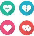 Heart shapes flat design icons set vector image vector image