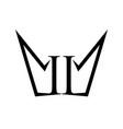 ii number crown shape form symbol design vector image vector image