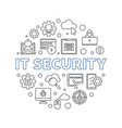 it security round concept minimal linear vector image