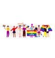 lgbtq pride activists standing together vector image vector image