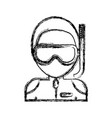 man with snorkel mask icon vector image vector image