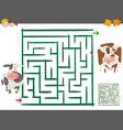 maze leisure game with cows vector image vector image