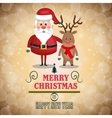 merry christmas lettering with santa and reindeer vector image vector image
