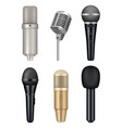 microphones realistic professional media music vector image