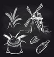mill and bakery products on blackboard vector image vector image