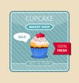 peach color cupcake with hearts card vector image vector image