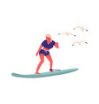 people at beach cartoon woman surfing female vector image vector image