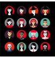 people in halloween avatar set flat style vector image