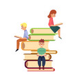 people sitting and reading on pile of giant books vector image vector image