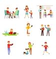 People Zombified And Dependent On Gadgets Set Of vector image vector image