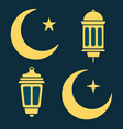 ramadan lantern moon and stars in black and white vector image vector image