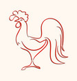 red icon rooster in the form of lines vector image vector image