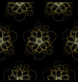 seamless pattern with gold lotus and circles on vector image vector image