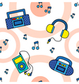 Seamless tape recorders pattern vector image