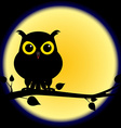 Silhouette of owl on branch with full moon vector image