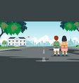 students walk to school vector image