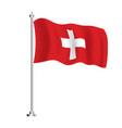 swiss flag isolated wave flag switzerland vector image