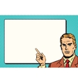 The man points to a white background sheet retro vector image vector image