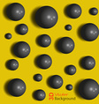 Unusual abstract background black spheres on the vector image
