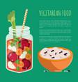 vegetarian food detox refreshing healthy cocktail vector image