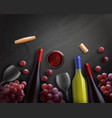 wine realistic composition vector image vector image
