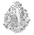 zentangl girl and mushroom in vector image vector image
