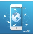 Airplanes flying around the globe Phone concept vector image
